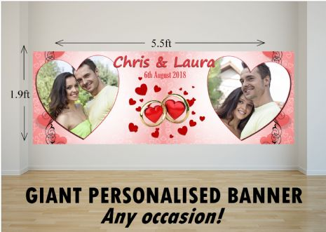 Personalised GIANT Large Congratulations Wedding Engagement Anniversary PHOTO Poster Banner N74